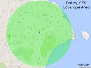 Dalkey CFR Coverage Area - 1 5 km Radius